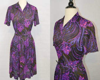 1970s Shades of Purple Large Paisley Shirtwaist Dress by The Original Downtowner, Accordion Skirt