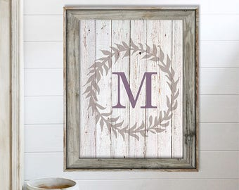 SALE-Family Last Name Monogram Wreath On White Barnwood- Art Print - Wall Art Designs- Gallery Wall- Decor- Art Print