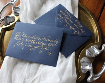 Gold ink envelope suite addressing | Custom calligraphy | Wedding invitation or Save the date