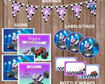 Starla & Blaze and the Monster Machines Theme Birthday Party Package-INSTANT DIGITAL DOWNLOAD