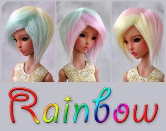 """BJD wig - Rainbow - Soft pastel colors - 6-7"""", 7-8"""", 8-9"""", 9-10"""" faux fur"""
