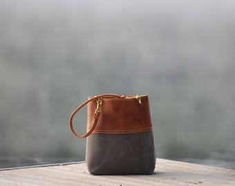 Small Leather Bag with Waxed Canvas and Leather Straps with Brass Hooks