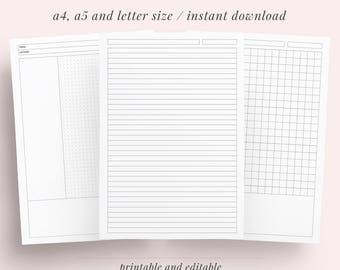 Student Note Taking Template Printable Pack | A4, A5 and Letter| Cornell, Lecture, Dot, Grid, Lined College Paper | Instant Download |