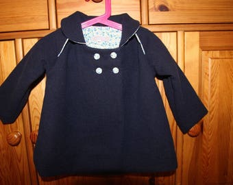 Manteau laine bleu marine doublé imprimé fleurs Taille 18 mois
