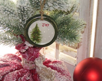 Mason Jar Lid Christmas Ornament (reversible - set of 3)