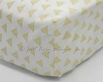 Fitted Crib Sheet - Gold Triangle