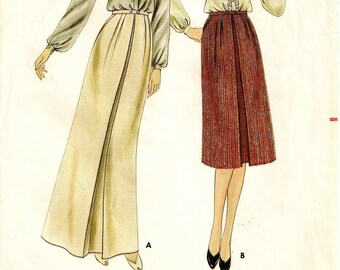 "An Inverted Front Pleat, Buttoned Waistband, Front Slant Pocket, Long/Knee Length Skirt Pattern for Women: Size 14 Waist 28"" •Butterick 3322"