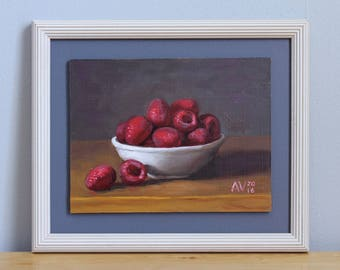 Red Ripe Raspberries in a Bowl Framed Kitchen Painting Still Life by Aleksey Vaynshteyn