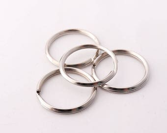25mm(1 inch) 10pcs Split Key Ring Strong Key Chain Key Fob Ring Round keyring Silver Plated Double Loops
