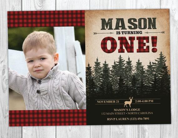 Deer Lumberjack Plaid Flannel Birthday Invitation - Camo Camping Hunting Arrow Woodland Invites - Forest First Birthday