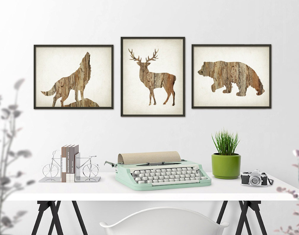 Deer Wolf Bear Wall Art Print Set of 3 Wood Hunting Lodge