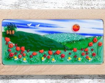 Fused Glass Picture with Countryside Scene