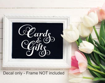 Cards And Gifts Decal Wedding Vinyl Decal Bridal Shower Decal Wedding Chalkboard Decal Reception Table Wedding Shower Wedding Reception