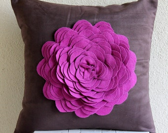 Decorative Euro Sham Cover Euro Sham Couch Sofa Euro Sham 26x26 Suede Pillow Cover Felt Embroidered Home Living Pillow Case -Pink Rose