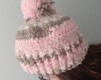 Women's Oversized Pink Pom-Pom Hat