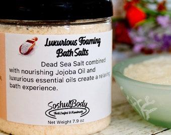 Luxurious Foaming Essential Oil Bath Salts (Ylang Ylang EO, Orange EO, Lavender EO)