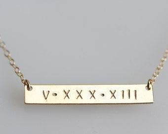 ROMAN NUMERAL NECKLACE, Gold Bar Necklace, Gold Date Bar, Date Necklace, Initial Bar, Name necklace, Horizontal bar pendant, Monogrammed bar