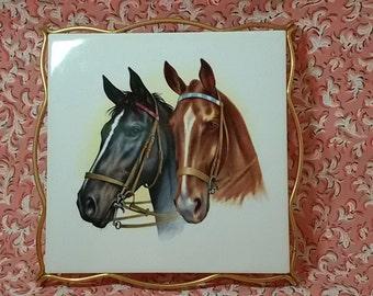 Vintage 60's / flat tile Villeroy and Boch horse below