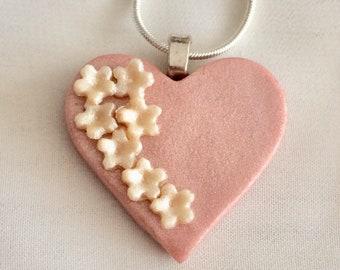 P103- Heart Polymer cherry blossom pendant- pink blush/pearl/rose gold/peach spring/pink/silver/summer sakura flowers