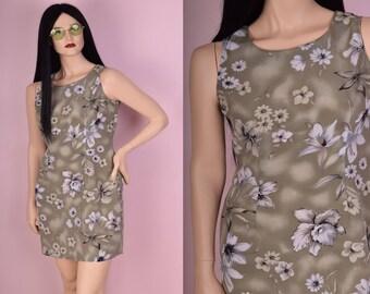 90s Floral Print Dress/ Large/ 1990s/ Tank/ Sleeveless