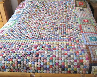 Vintage Hand Made Yo Yo Quilt Bed Cover Bedding