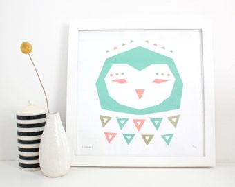 Cute Owl Print, Kids Room Art, Geometric Nursery