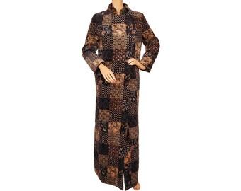 Vintage 1970s Quilted Velvet Coat - Patchwork Print - Hippie Chic - Ladies - M