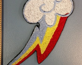 Pony Rainbow Embroidered Patch, Iron On Rainbow Cloud Patch