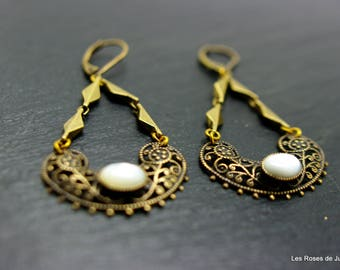 Bronze art deco pearl earrings
