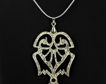 """Reversible Laser Cut Leather Pendant """"Angels"""" in Gold/Black or Silver/Black"""
