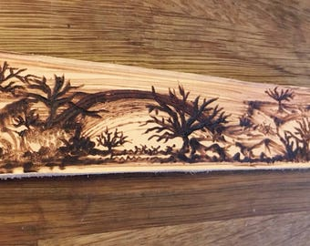 Desert Scene Wristband - leather pyrography