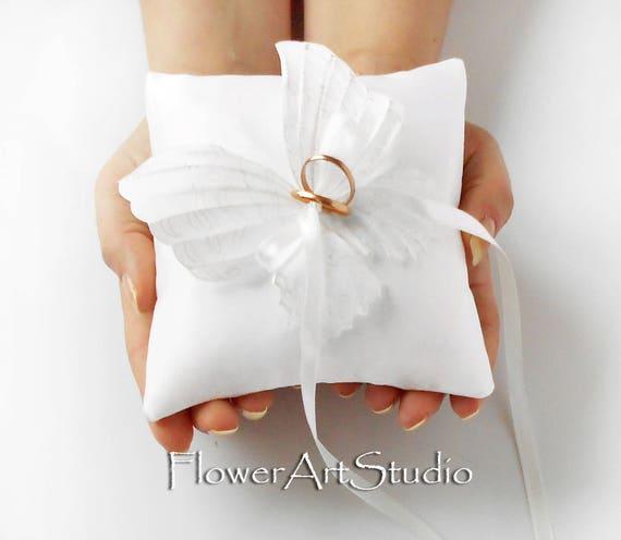 Ehering Kissen weißer Schmetterling Ring Kissen weiße Hochzeit