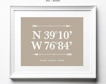 Personalized Wall Decor Living Room Custom Coordinates Latitude Longitude Sign Coordinates Sign Latitude Longitude First Home Gift