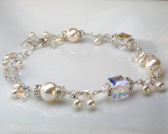 Modern Bride Bracelet, Swarovski Crystal Cube, White Pearl, Rhinestones, Sterling Silver, Wedding Handmade Jewelry, Custom Bridal Fashion