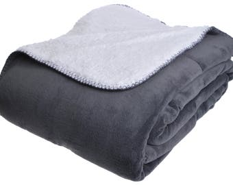 White-Graphite double-sided blanket