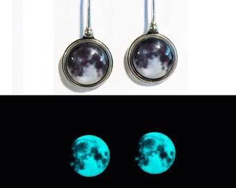 Once In a Blue Moon Sterling Silver Glow in the Dark Earrings
