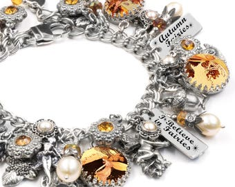 Autumn Fairies Charm Bracelet, Fairy Bracelet with Real Pearls, Swarovski Crystals and tons of Fairy Charms