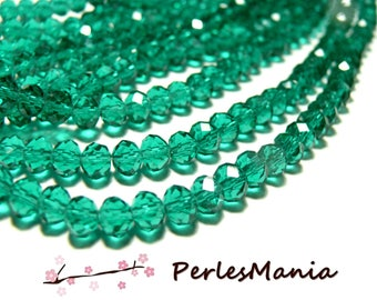 1 strand of approximately 66 beads faceted rondelle glass 6 by 8mm Green Emerald 2J1346