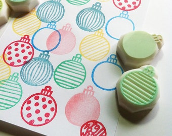 christmas ornament rubber stamps | xmas card making | diy gift wrapping | winter holiday decor | hand carved by talktothesun | set of 6