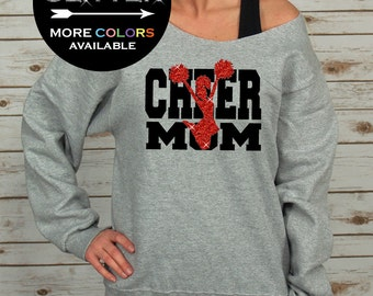 Cheer Mom Off Shoulder Raw Edge Sweatshirt for Women //GLITTER// Cheer Shirt - Mothers Day Gift - Cheerleading (562MR Athletic Heather)