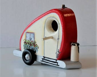 Red and IvoryTear Drop Trailer Birdhouse , Decorative , Colorful , Whimsical