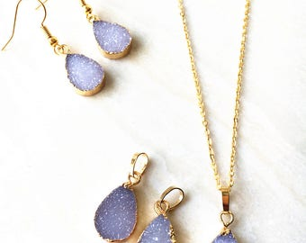 Nature Agate Druzy Teardrop Pendant Necklace // Agate Druzy Earring // Gold Agate Drusy Druzzy Jewelry Charm For Earring Necklace DIY Making