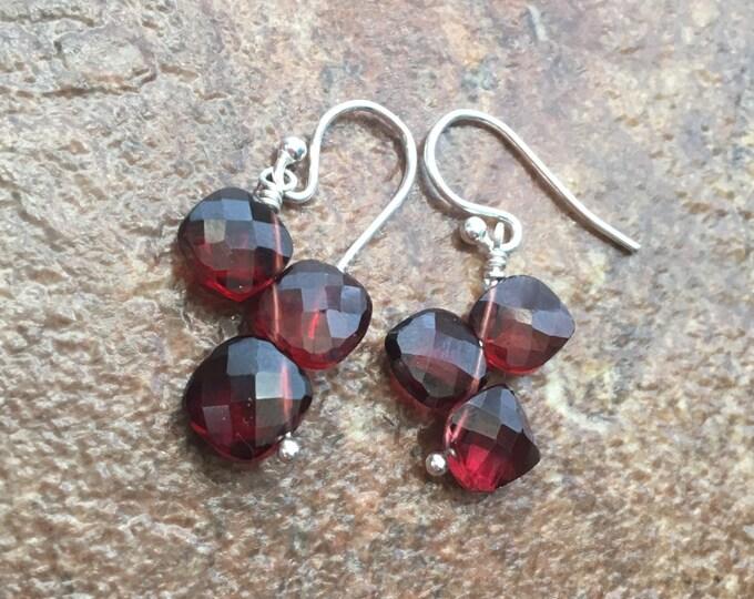 Garnet cushion cut earrings