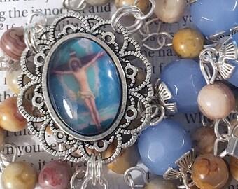 Jesus Crucifixion Rosary Silver Rosary Catholic Rosaries Blue Rosary Lenton Gift Lenton Rosary Jesus Rosary