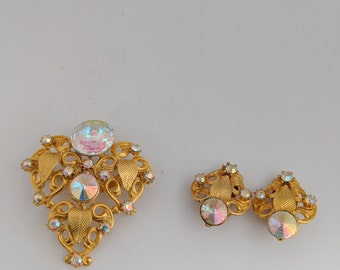 Beautiful Vintage Swarovski Crystal Rivoli Brooch Set, Clip Earrings-FREE SHIPPING US