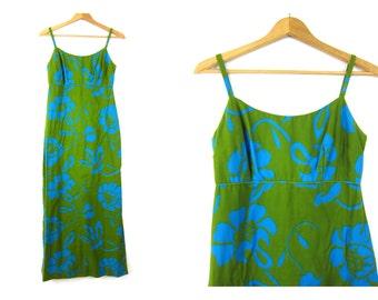 Vintage Green and blue blue cotton TIKI maxi dress Hawaiian Print Graphic Resort Vacation Wear Beach Lounge dress Women's SIze small
