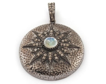Mothers Day Sale 1 Pc Pave Diamond Star Burst Pendant With Moonstone In Center - 925 Sterling Silver 33mmx30mm BLPD057