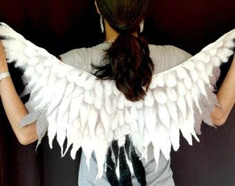 Swan Wings Costume Collar Seagull scarf owl feather shawl pure natural merino wool felted cape in white grey and black