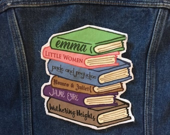 Romance Classics book stack large patch Pride and Prejudice Little Women Jane Eyre Emma Jane Austen Romeo & Juliet Wuthering Heights Bronte