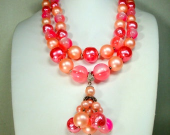 Candy Pink & Peach Tassel Necklace, 1960s Sexy Hot Girly YUM, 2 Strands Resin n Pearl Beads, Adjustable
